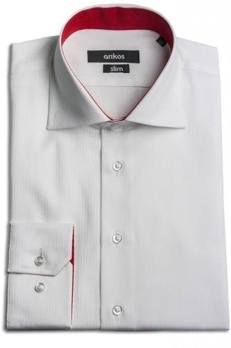 Bílá pánská košile s červenou kontrastní látkou - SLIM