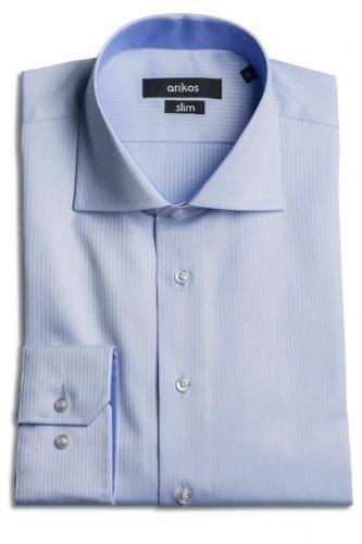 Modrá pánská košile s jemným modrým vzorem - SLIM