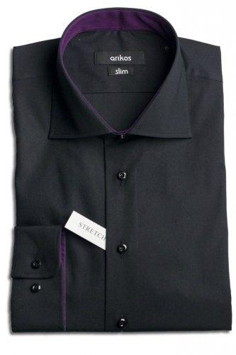 Černá pánská košile s fialovou kontrastní látkou - SLIM