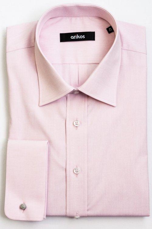 Růžová košile na manžetové knoflíčky