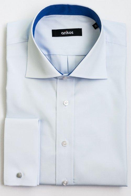 Modrá pánská košile na manžetové knoflíčky