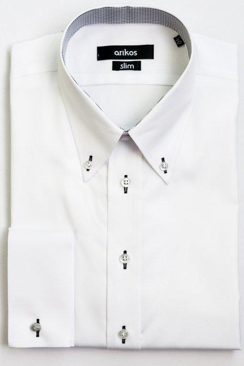 Bílá pánská SLIM košile na manžetové knoflíčky