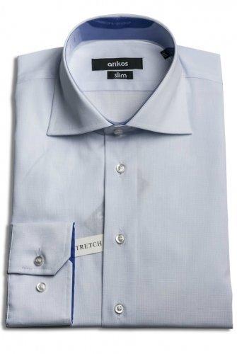VÝPRODEJ! Bílá pánská košile s jemným modrým vzorem - SLIM