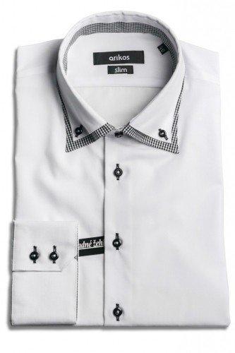 VÝPRODEJ! Bílá pánská košile s dvojitým límcem - SLIM