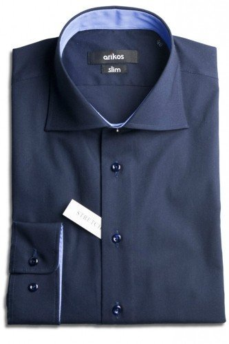 VÝPRODEJ! Tmavě modrá pánská košile s modrým doplňkem - SLIM