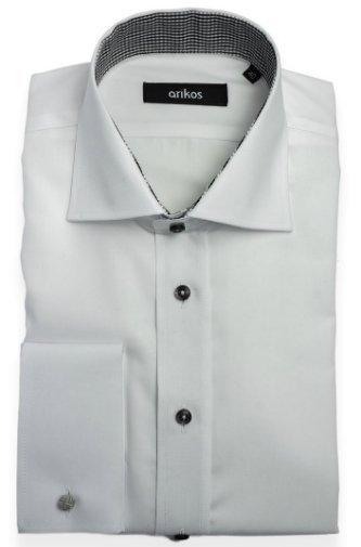 VÝPRODEJ! Bílo-černá košile na manžetové knoflíčky