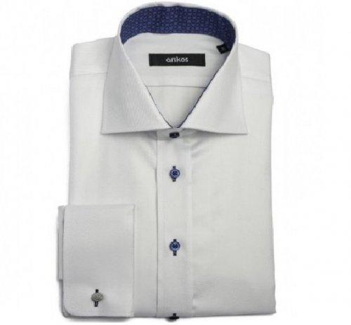 VÝPRODEJ! Bílo-modrá pánská košile na manžetové knoflíčky