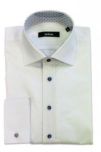 VÝPRODEJ! Bílá pánská košile na manžetové knoflíčky